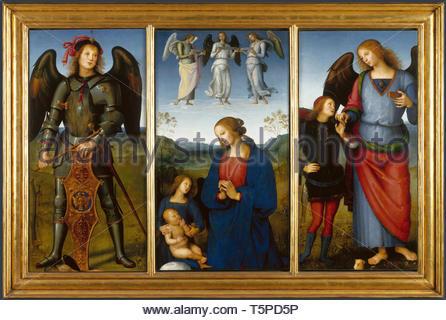 Pietro Perugino-Three Panels from an Altarpiece, Certosa - Stock Photo