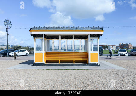 Yellow shelter on the seafront at Southsea, Hampshire, England UK - Stock Photo