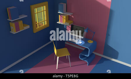 3D render.Isometric view of interior in minimalistic modern cartoon style.Room in evening sunlight. with chair, table, lamp, window and bookshelf.Colo - Stock Photo