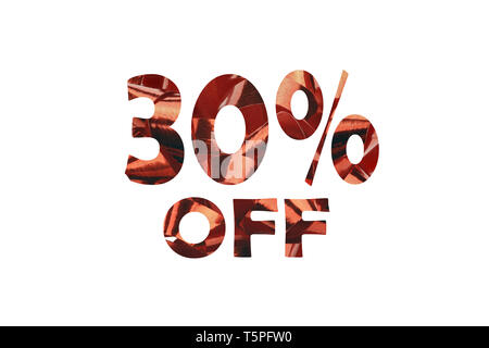 30 percent off cut out of an photo of red gift ribbon - Stock Photo