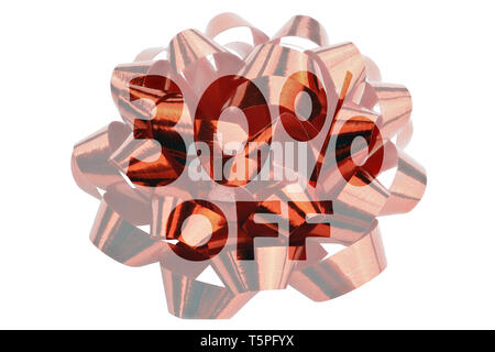 30 percent off - cut out of a photograph of a red ribbon close up - Stock Photo