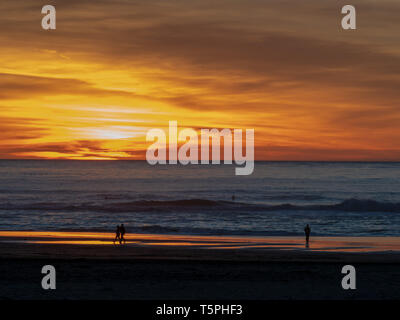 Sunset during dusk over Pacific Ocean with couples, surfers, and walkers - Stock Photo