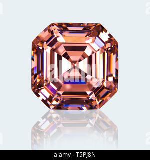 Asscher cut Gemstone, Fancy Diamond, Pink Sapphire, Fancy Diamond Gemstone, Pink Sapphire Gemstone, Asscher Cut Fancy Diamond, Asscher cut Pink Sapphi - Stock Photo