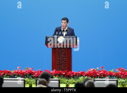 Beijing, China. 26th Apr, 2019. Philippine President Rodrigo Duterte addresses the high-level meeting of the Second Belt and Road Forum for International Cooperation in Beijing, capital of China, April 26, 2019. Credit: Chen Jianli/Xinhua/Alamy Live News - Stock Photo