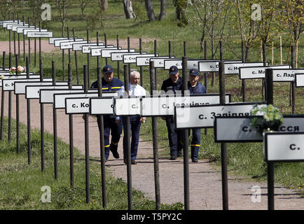 Kiev, Kiev, Ukraine. 26th Apr, 2019. Plates with the names of 162 abandoned and evacuated villages, as a result Chernobyl disaster, are seen in a memorial complex 'Star Wormwood' during the anniversary.Ukrainians mark the 33rd anniversary of Chernobyl catastrophe. The explosion of the fourth block of the Chernobyl nuclear plant on 26 April 1986 is still regarded as the biggest accident in the history of nuclear power generation. Credit: Pavlo Gonchar/SOPA Images/ZUMA Wire/Alamy Live News - Stock Photo