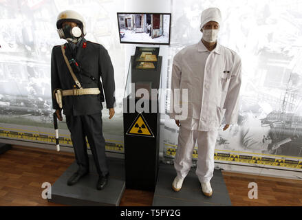 Kiev, Kiev, Ukraine. 26th Apr, 2019. Exhibits are seen at a local museum dedicated to the Chernobyl disaster during the anniversary.Ukrainians mark the 33rd anniversary of Chernobyl catastrophe. The explosion of the fourth block of the Chernobyl nuclear plant on 26 April 1986 is still regarded as the biggest accident in the history of nuclear power generation. Credit: Pavlo Gonchar/SOPA Images/ZUMA Wire/Alamy Live News - Stock Photo