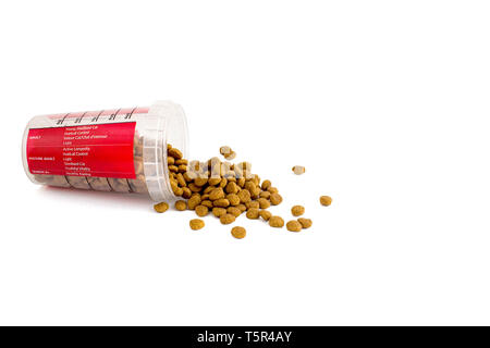 dry cat food is poured from a transparent red plastic measuring cup for different types of cats, dieting. - Stock Photo