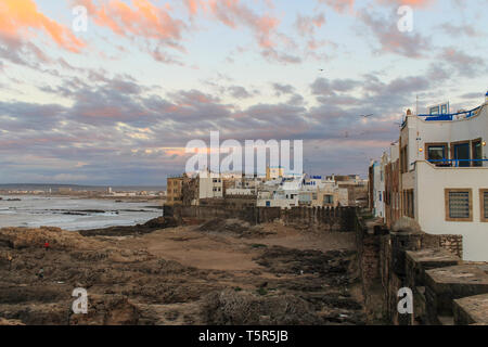 Sunset at the seaside view From Fort on Essaouira in Morocco on the Coast of Atlantic Ocean - Stock Photo
