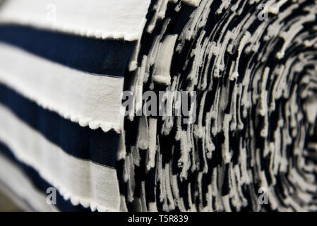 """Tricots Saint James garment factory in Saint-James (Normandy, north-western France), traditional sailor's jersey and Breton striped shirt (French """"mar - Stock Photo"""