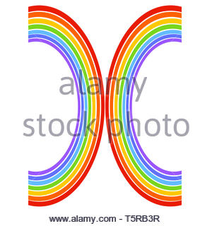 the letter of the seven colors of the rainbow - Stock Photo