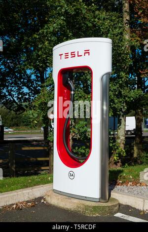 tesla charging station - Stock Photo