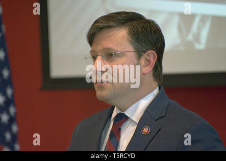 BOSSIER CITY, LA., U.S.A. - APRIL 25, 2019: U.S. Rep. Mike Johnson, R-La., speaks at a town-hall style meeting with constituents at Bossier Parish Com - Stock Photo