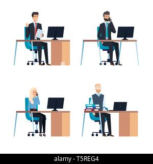 set professional businesswoman and busineesmen in the office - Stock Photo