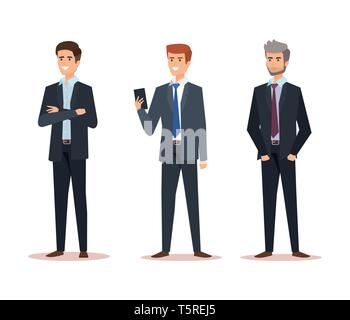 set professional businessmen with company documents success - Stock Photo