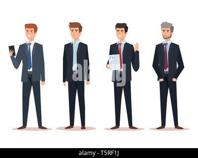 set executive businessmen with corporate documents - Stock Photo