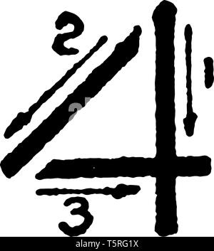 This is a picture of stroke technique for writing number 4 in commercial gothic, vintage line drawing or engraving illustration. - Stock Photo