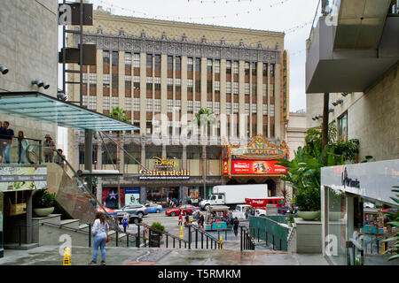LOS ANGELES, USA - MAY 21, 2018: Disney and Ghirardelli signs in Hollywood boulevard - Stock Photo