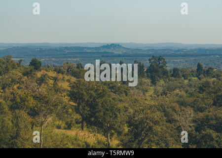 Wonderful view of the mountains on top of a hill in São Teotónio, Portugal - Stock Photo