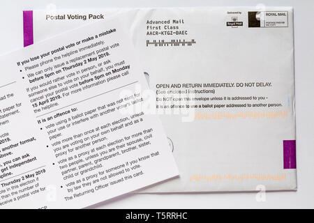 Postal Voting pack and Poll card for local elections in UK - Stock Photo