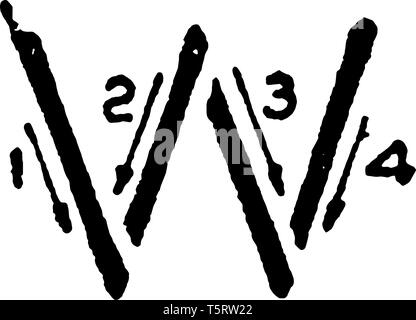 This is a picture of stroke technique for writing letter W in commercial gothic, vintage line drawing or engraving illustration. - Stock Photo