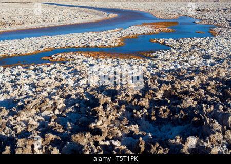 Salt crust in the shore of Chaxa lagoon in the middle of the Salar de Atacama (Atacama Salt Lake), Soncor, Atacama desert, Antofagasta Region, Chile,  - Stock Photo