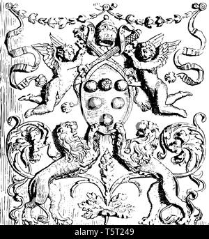 This image shows the arms of Leo X. Includes several types of arms. There are 2 lions on the bottom side of the image, vintage line drawing or engravi - Stock Photo