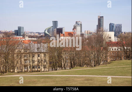 View of new city centre at Snipiskes  district from Tauras hill in Vilnius. Lithuania