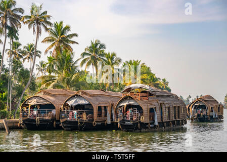Horizontal view of traditional riceboats moored in Kerala, India.
