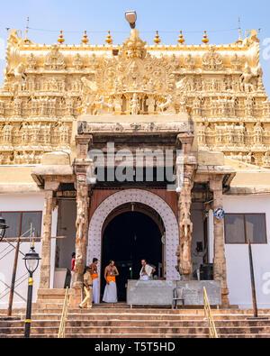 Vertical view of the infamous Padmanabhaswamy Temple in Trivandrum, Kerala, India. - Stock Photo