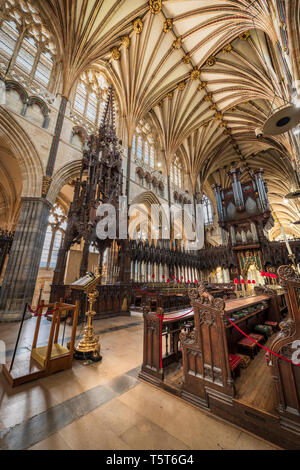 The interior of the Cathedral Church of Saint Peter, a medieval masterpiece better known as Exeter Cathedral, looking towards Lady Chapel with its imp - Stock Photo