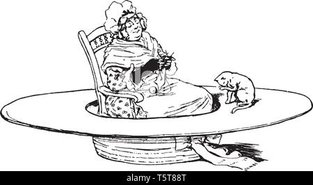 A tiny woman sitting on chair in a hat, cat near her, vintage line drawing or engraving illustration - Stock Photo