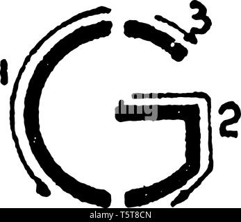 This is a picture of stroke technique for writing letter G in commercial gothic, vintage line drawing or engraving illustration. - Stock Photo