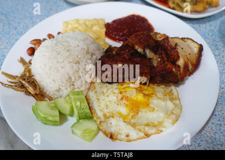 Nasi Lemak, Malaysian coconut rice served with fried egg, cucumber, fried anchovies, peanuts and fried chicken cooked in chili sauce - Stock Photo