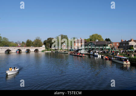 Pleasure boats on the river Avon in Stratford upon Avon Warwickshire - Stock Photo
