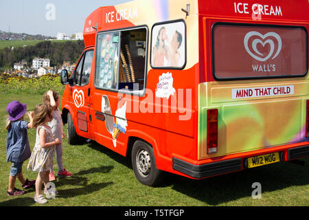 People queueing at Ice cream van, Hastings. - Stock Photo