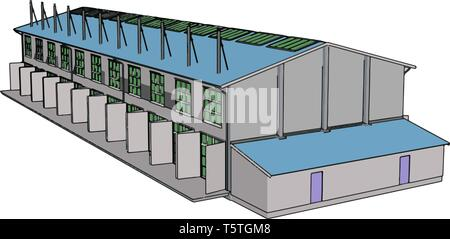 Large blue and grey modern metal barn with open shuts vector illustration on white background - Stock Photo