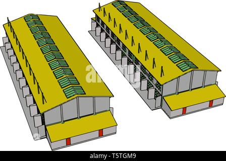 Two green and yellow large modern barns with open shuts and green roof windows vector illustration on white background - Stock Photo