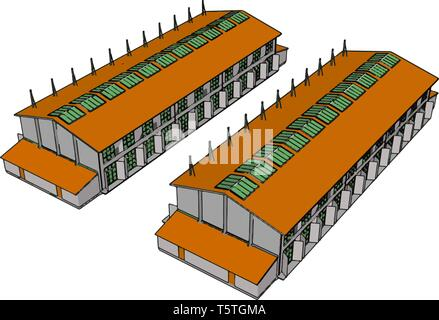Two green and orange large modern barns with open shuts and green roof windows vector illustration on white background - Stock Photo