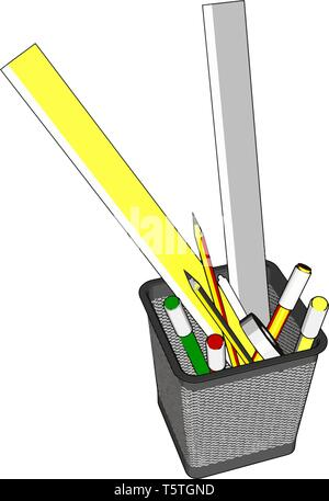 Wire pen cup with rulers and several pens and penciles vector illustration on white background - Stock Photo