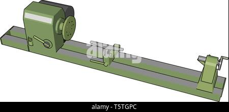 Industrial green and grey lathe vector illustration on white background - Stock Photo