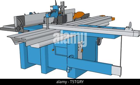 3D vector illustration of an industrial power press machine white background - Stock Photo