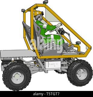 3D vector illustration of a yellow industrial human transport vehicle on a white background - Stock Photo