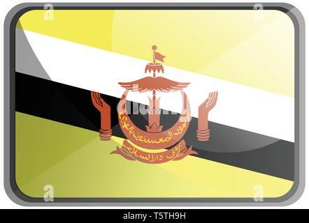 Vector illustration of Brunei flag on white background. - Stock Photo