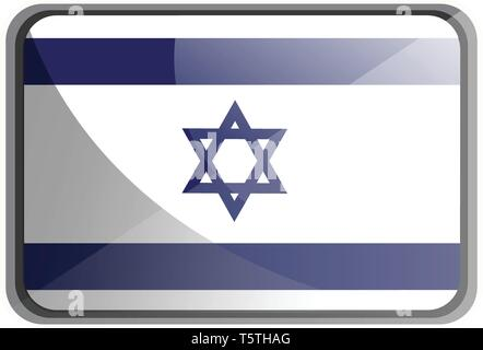 Vector illustration of Israel flag on white background. - Stock Photo