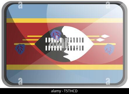 Vector illustration of Swaziland flag on white background. - Stock Photo