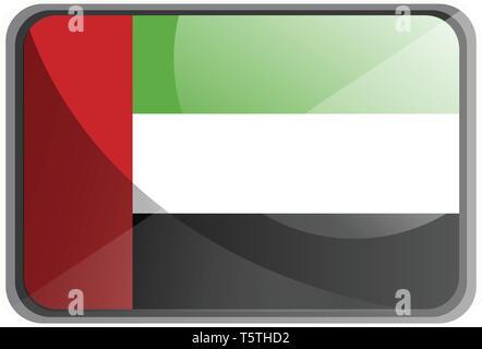 Vector illustration of United Arab Emirates flag on white background. - Stock Photo