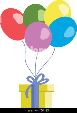 Birthday with balloons and gift vector or color illustration - Stock Photo