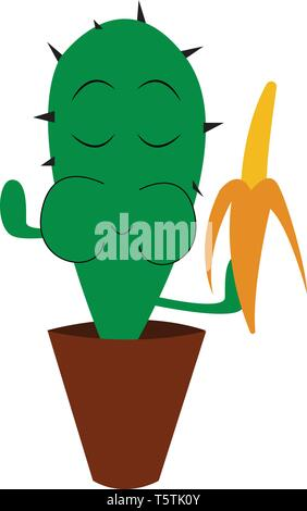 Cactus eating banana vector or color illustration - Stock Photo