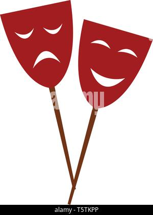 Two red-colored carnival party eye masks attached to a stick with happy and sad expressions vector color drawing or illustration - Stock Photo