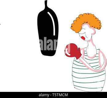 Abstract cartoon of a boxer with red glove punching a black punching bag vector illustration on white background - Stock Photo